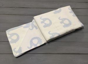 """Одеяло маленькое """"Слоны"""" 100% х/б 100х140 бело-голубое"""