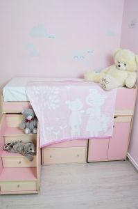 ZH083 Розовая МВ Счастливая Семейка 110х110 Простыня 7-Я
