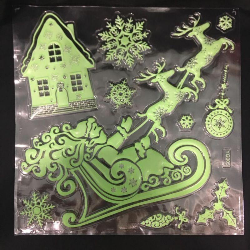 Набор светящихся новогодних наклеек Merry Christmas, 30х40 см, Новогодние Сани