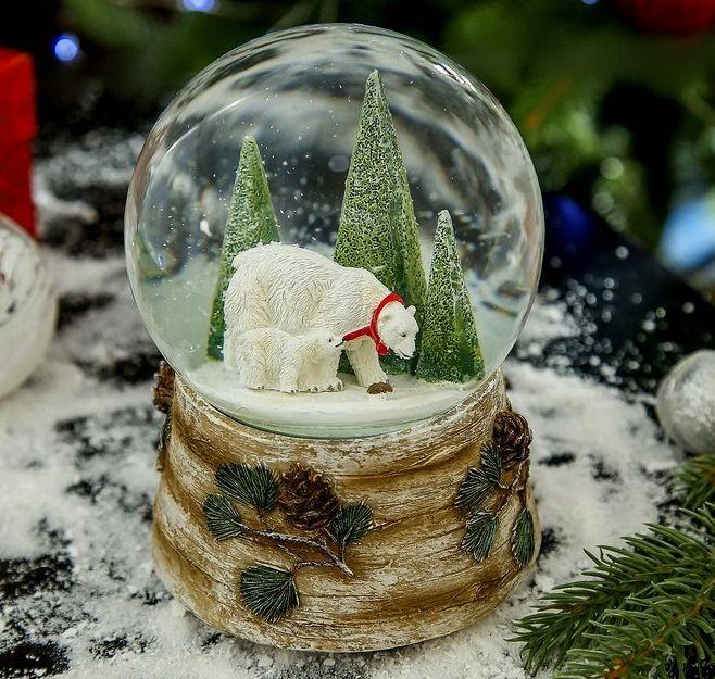 Снежный шар Белые медведи
