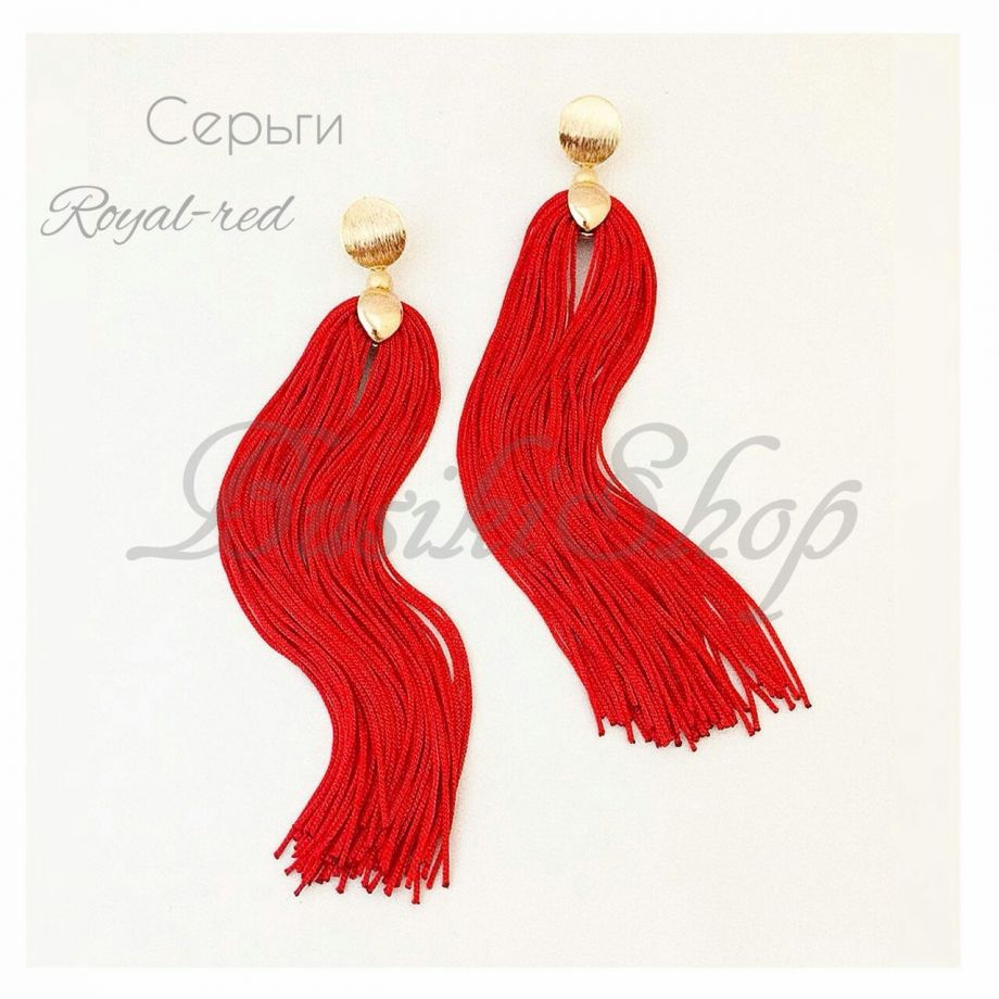 "Серьги ""Royal-Red"" бахрома"