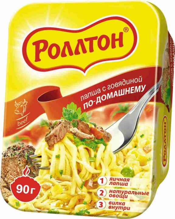 Лапша Роллтон с говядиной по домашнему острая т/ч 90г