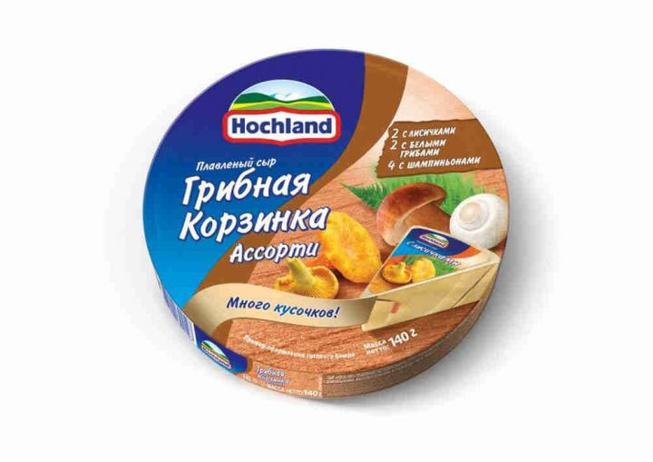 Сыр Хохланд 140г 55% Ассорти Гриб.корз круг