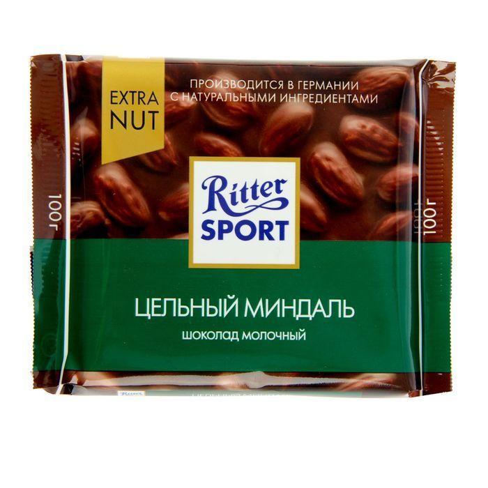 Шоколад Ritter sport Экстра Нат молочный с цельным миндалем 100г