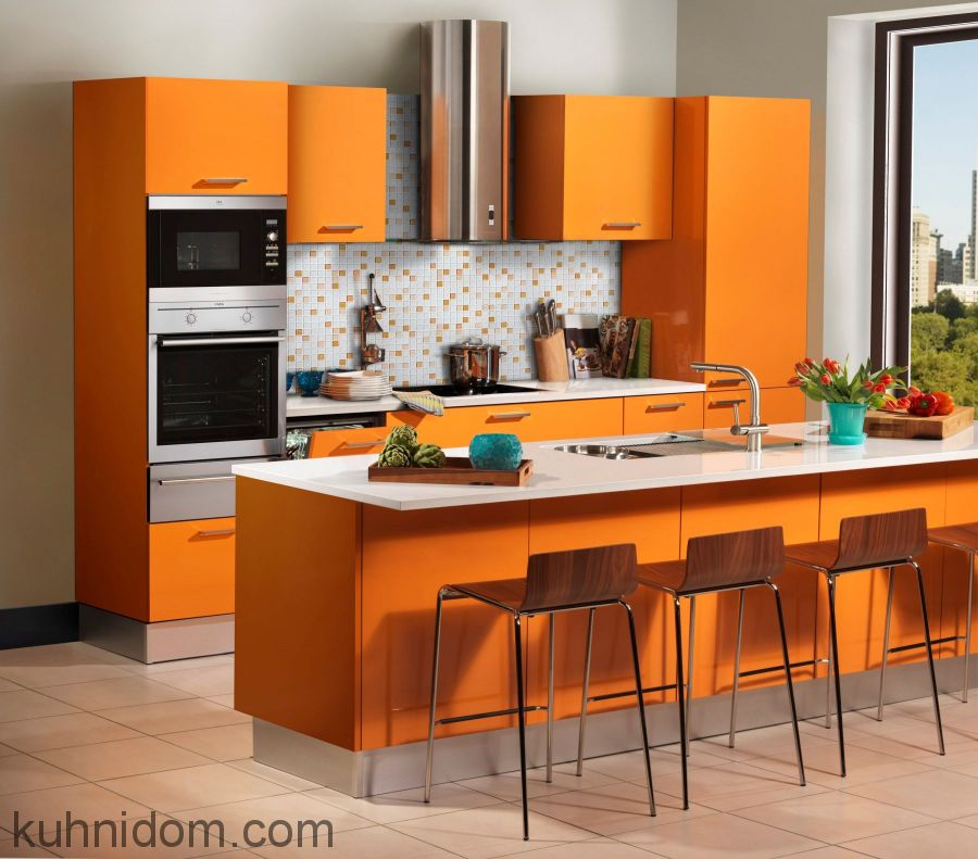 Кухня Система матовая оранж № 22