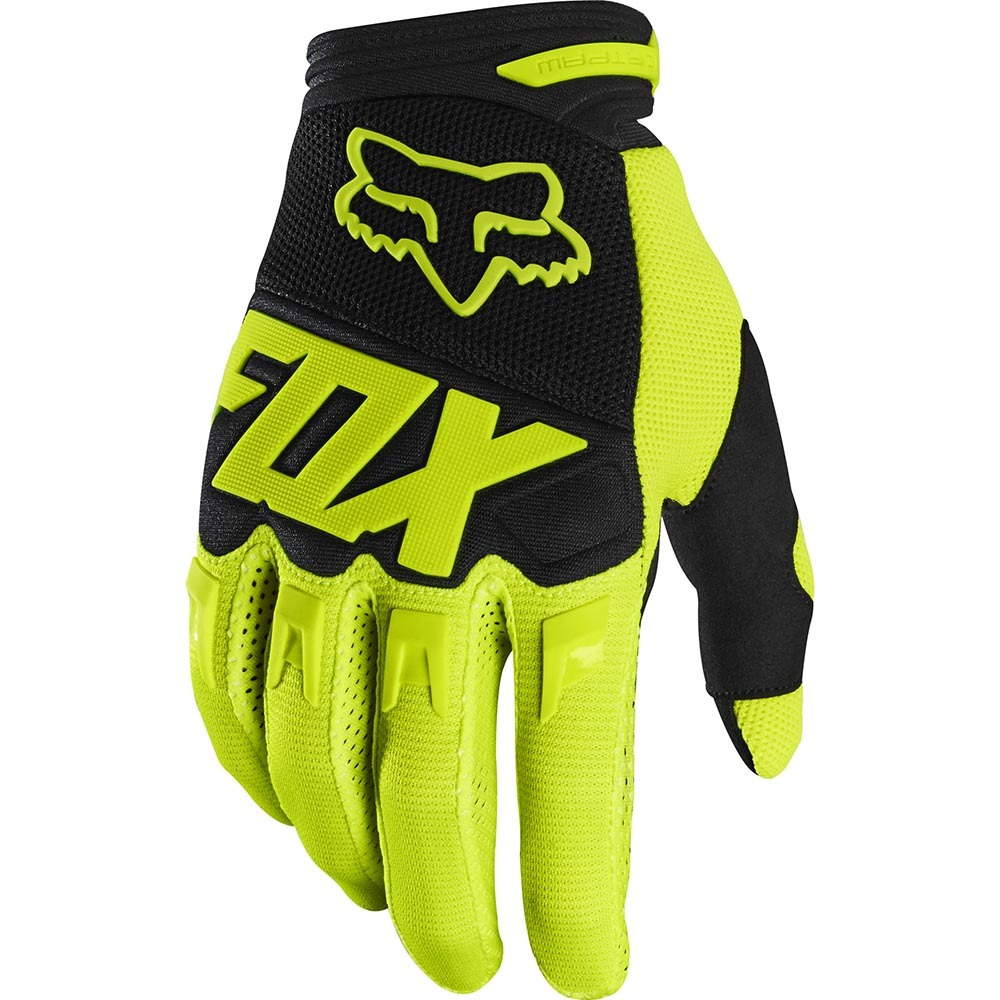Fox - 2020 Dirtpaw Race Fluorescent Yellow перчатки, желтые