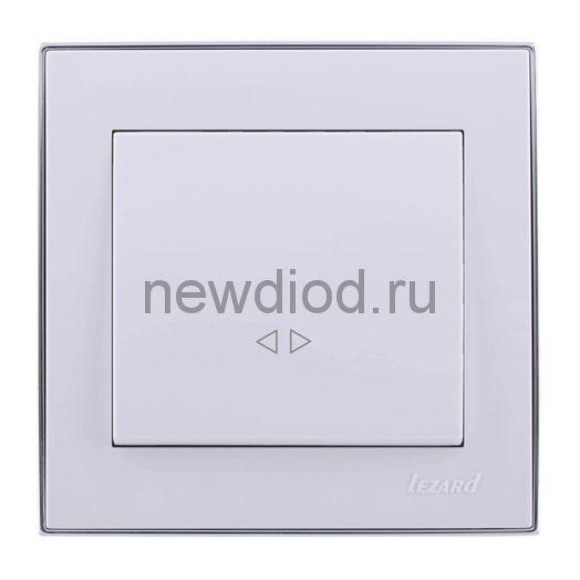 RAIN Выключатель промежуточный белый с  бок. вст. хром Lezard