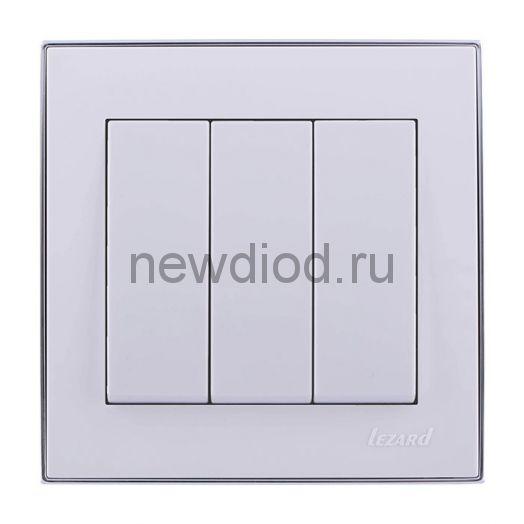 RAIN Выключатель тройной белый с  бок. вст. хром Lezard