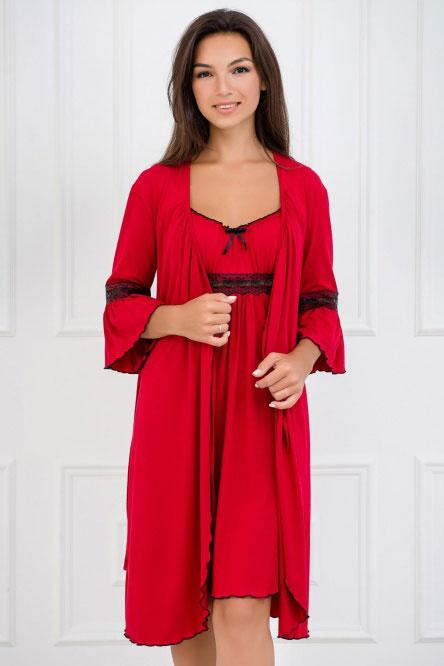 Комплект (халат и сорочка) арт.0060-05 красный, вискоза