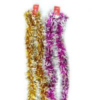 Новогодняя двухцветная мишура 2 м х 10 см, 6 шт