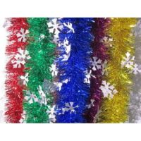 Новогодняя широкая мишура со снежинками 2 м х 9 см, 6 шт