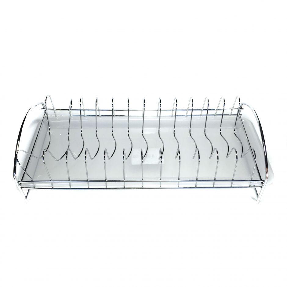 Настольная сушилка для посуды из нержавеющей стали с пластмассовым поддоном, 43*19 см