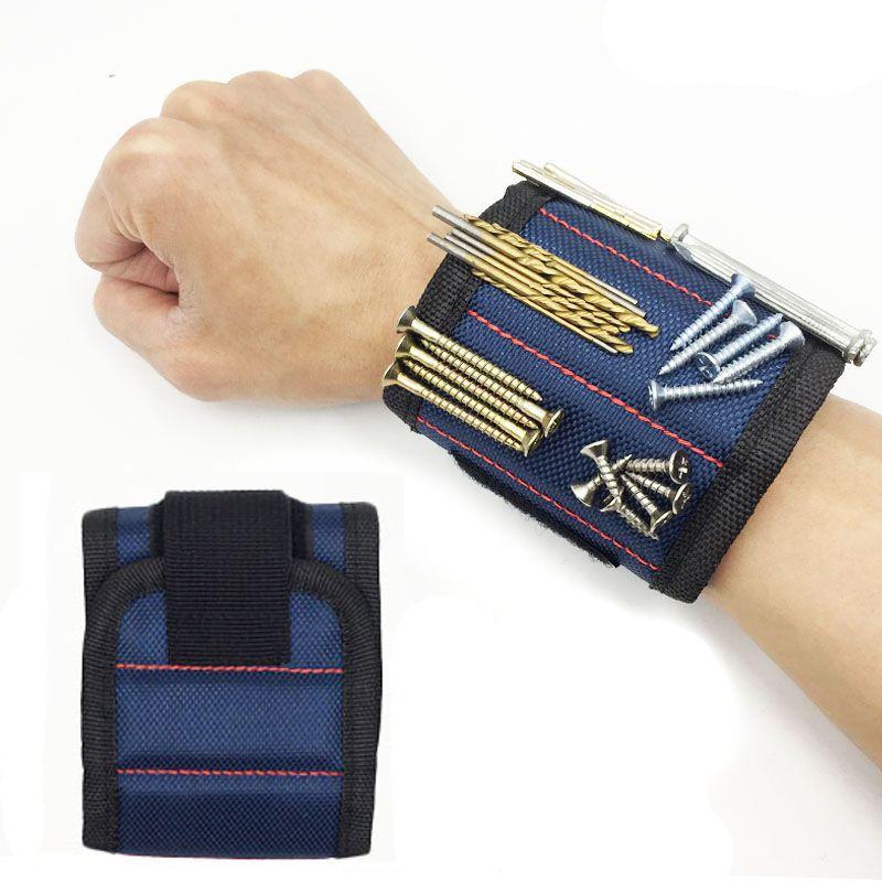 Строительный Магнитный Браслет Magnetic Wristband 3 Магнита, Цвет Синий