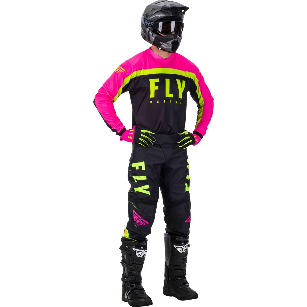 Fly - 2020 F-16 Neon Pink/Black/Hi-Viz комплект штаны и джерси, розово-черно-желтый