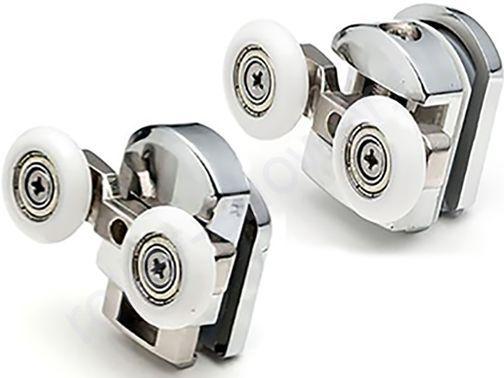 Ролики для душевой кабины River(Ривер)-двойные (комплект 4шт)  Диаметр колеса (от 18,6 до 28мм)