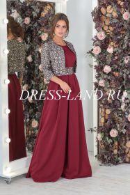 Бордовый костюм с платьем в пол и болеро