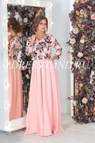 Персиковое платье в пол с длинным рукавом