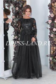 Черное вечернее платье с длинными рукавами