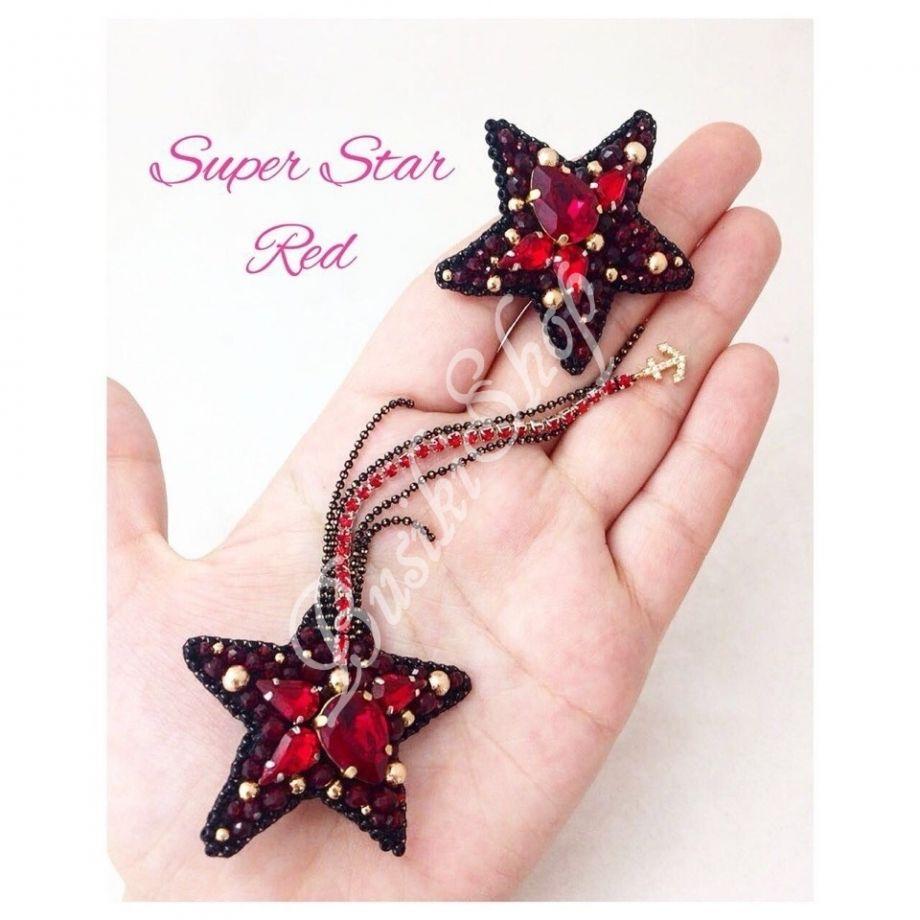 """Серьги """"Super Star"""" Красные"""