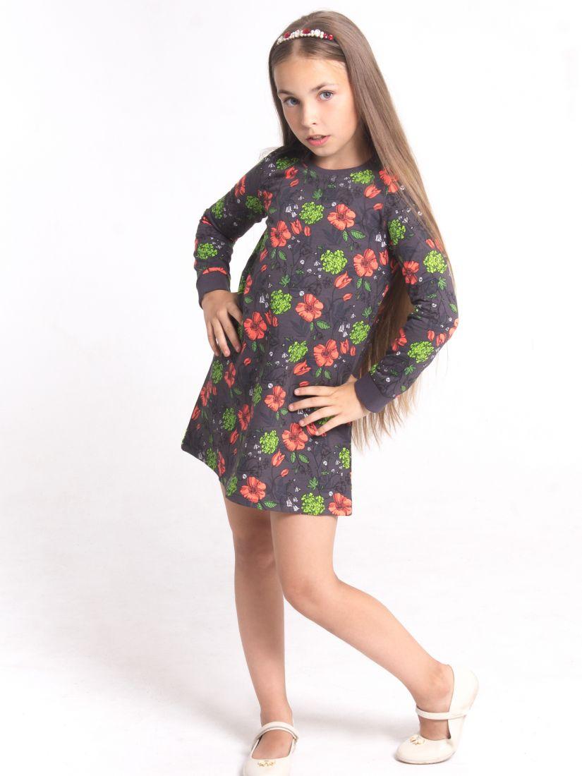 Платье для девочки цвет серый, коралл 8196