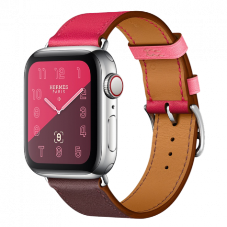 Apple Watch Hermes Series 4 Stainless Steel 40mm GPS + Cellular Bordeaux/Rose Extreme/Rose Azalee Swift Leather Single Tour