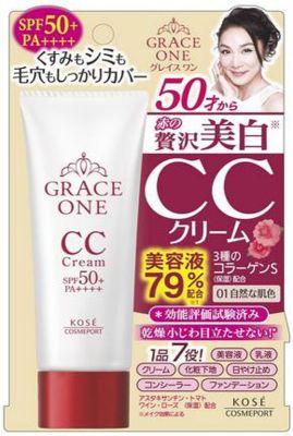 Kose Cosmeport Grace One Увлажняющий СС-крем для лица после 50 лет с гиалуроновой кислотой и коллагеном натуральный бежевый UV SPF50 + 50 гр