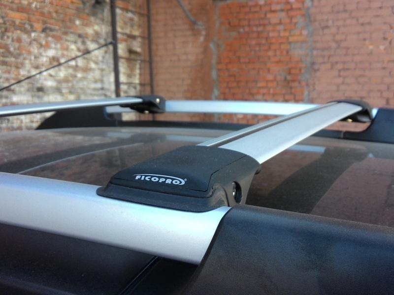 Багажник на рейлинги Renault Duster 2011-15, FicoPro R-44, серебристый, крыловидные аэродуги