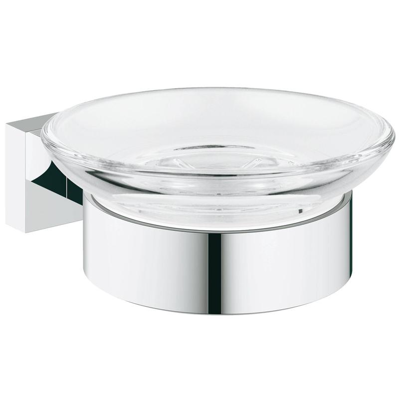 Мыльница с держателем, GROHE ESSENTIALS CUBE, стекло/металл (хром), 40754001