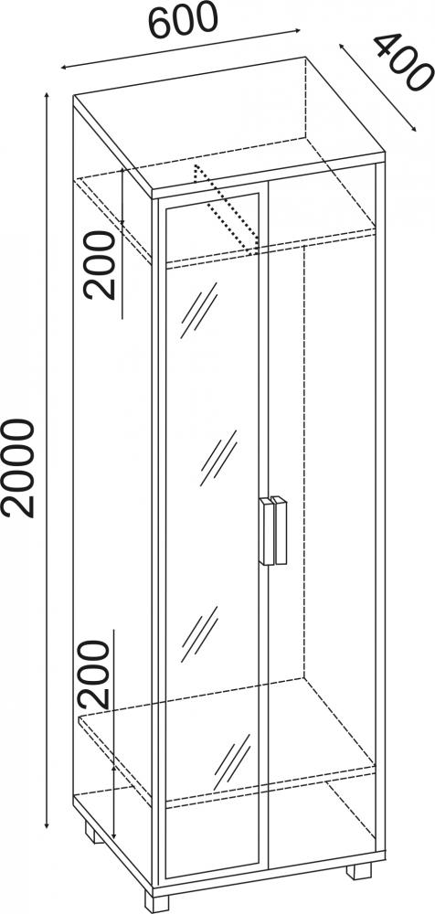 Вест Шкаф 600 с зеркалом М4