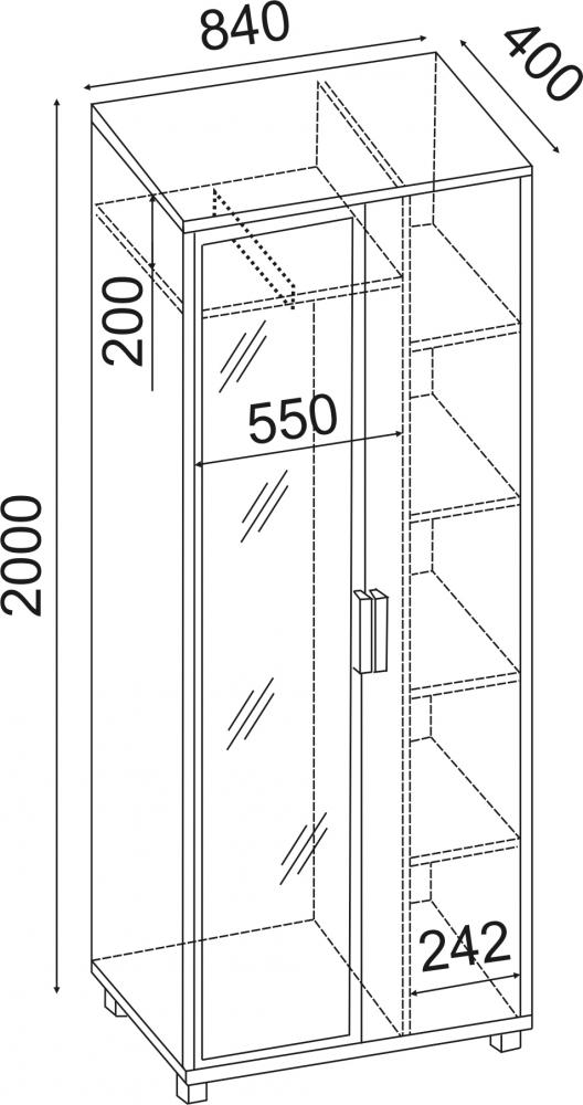 Вест Шкаф 800 с зеркалом М5