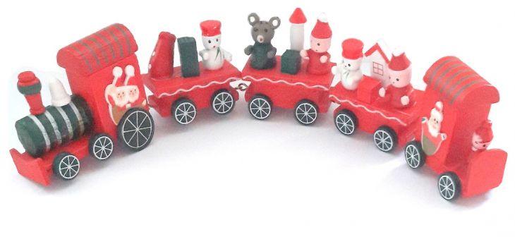 Рождественский паровозик 4 вагончика красный