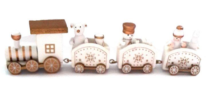 Рождественский паровозик 3 вагончика белый