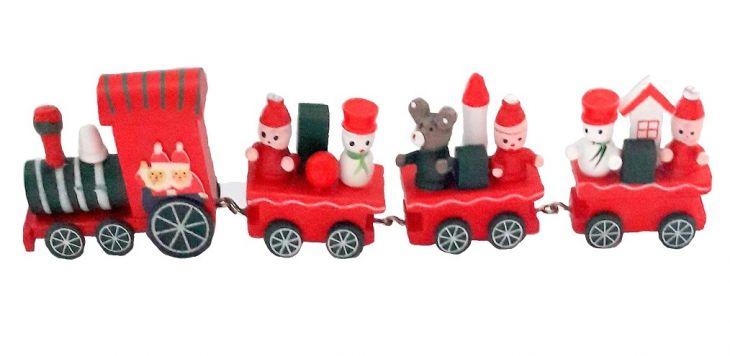 Рождественский паровозик 3 вагончика красный