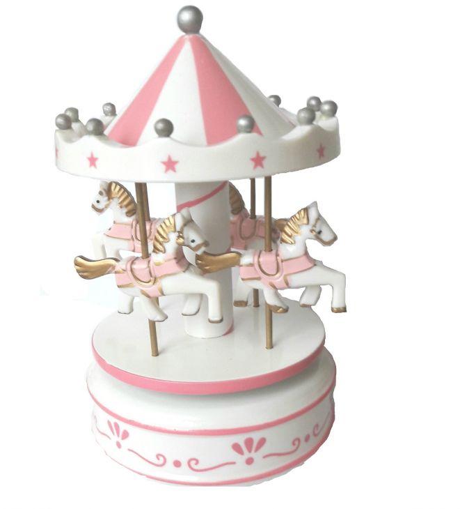 Карусель заводная деревянная игрушка MD 1120 бело-розовая