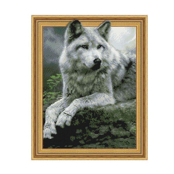 Набор 3D мозаика Лесной волк с рамкой 40*50 см