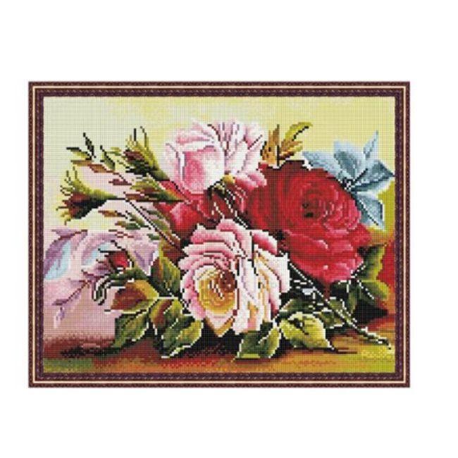 Набор Алмазная мозаика Красота цветов с нанесенной рамкой 40*50см
