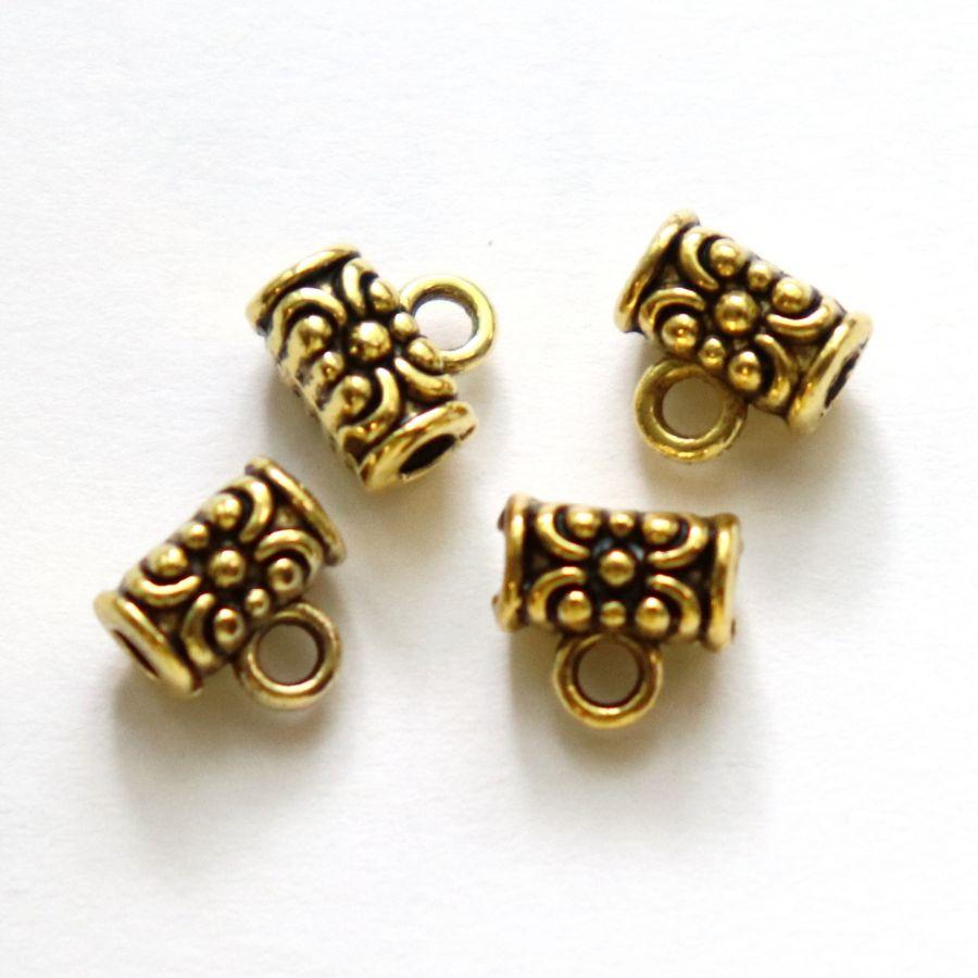 Бейл для тонкого шнура, 6 мм, золото, 4 шт/упак