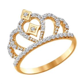 Золотое кольцо «Корона» 016628 SOKOLOV