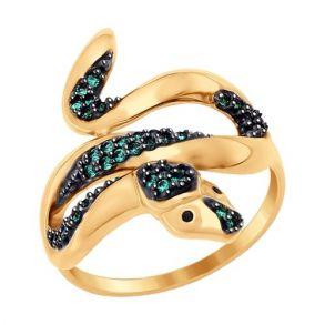 Кольцо «Змейка» из золота с фианитами 017117 SOKOLOV