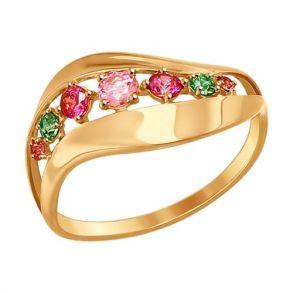 Кольцо из золота с розовыми, сиреневыми и зелеными фианитами 017298 SOKOLOV