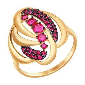 Кольцо из золота с красными фианитами 017330 SOKOLOV