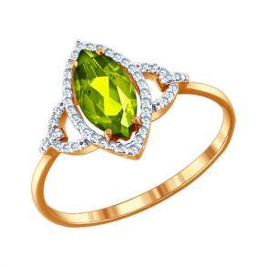 Кольцо из золота с фианитами и хризолитом 712321 SOKOLOV