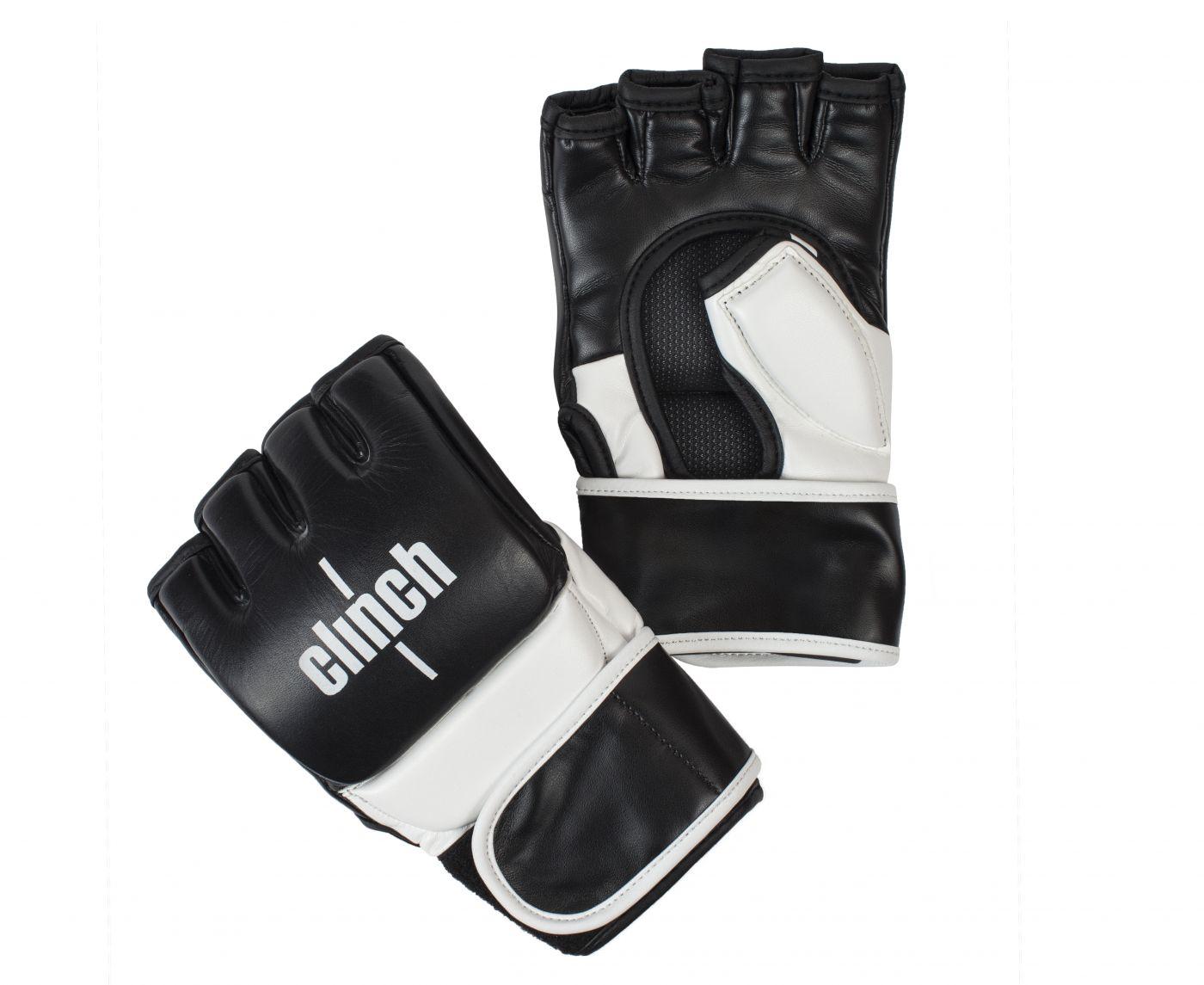 Перчатки для смешанных единоборств Clinch Combat черно-белые L/XL, артикул C611