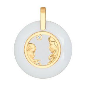 Керамическая подвеска «Знак зодиака Близнецы» из золота 034981 SOKOLOV