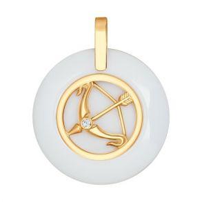 Керамическая подвеска « Знак зодиака Стрелец» из золота 034987 SOKOLOV