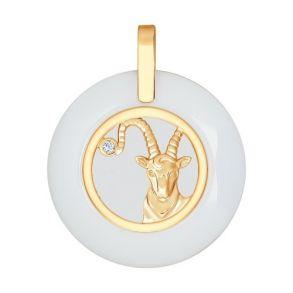 Керамическая подвеска «Знак зодиака Козерог» из золота 034988 SOKOLOV