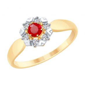 Кольцо из золота с красными корундами и фианитами 715308 SOKOLOV
