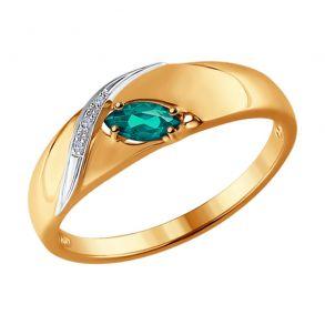 Кольцо из золота (бриллиант+изумруд) 3010550 №1 SOKOLOV