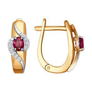 Серьги из комбинированного золота с бриллиантами и рубинами 4020361 №1 SOKOLOV