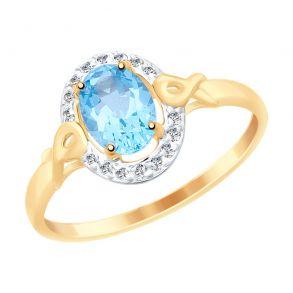 Кольцо из золота с топазом и фианитами 715070 SOKOLOV